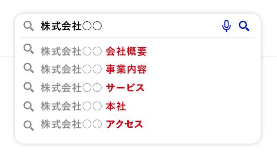 検索サジェストにネガティブなキーワードが表示されていない