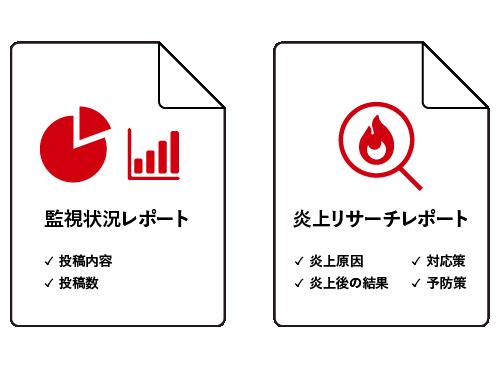 監視状況レポートと炎上リサーチレポートのイメージ画像